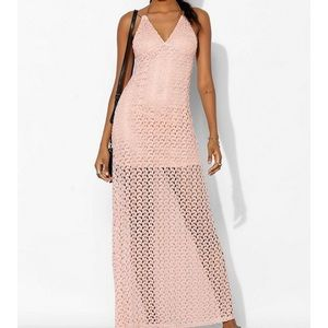 Urban Outfitters Pink Crochet Maxi Dress M